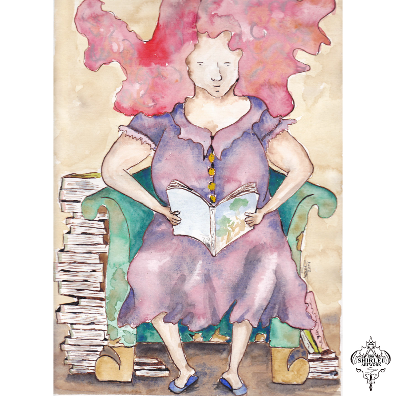 The Reader – Watercolor, Character Illustration